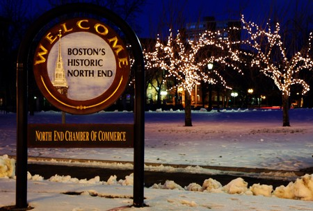 north   end: North End Chamber of commerce sign in Boston at night in winter