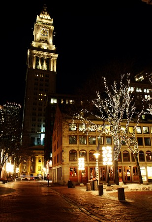 end: Bostons  Quincy Market  center at night in winter Stock Photo