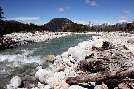 View of mountains and a river in Argentinian Patagonia