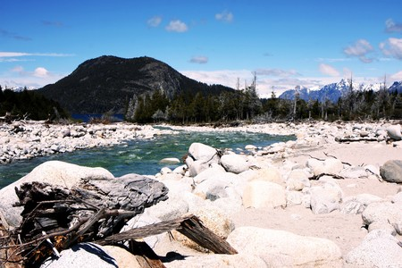 View of mountains and a river in Argentinian Patagonia photo