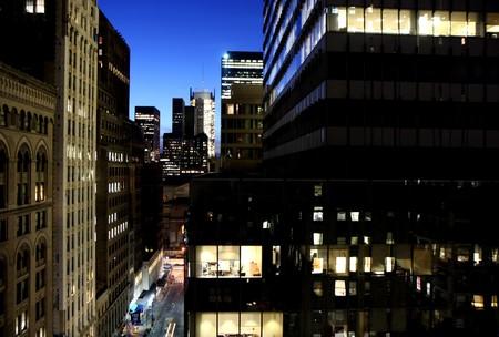 Closeup to buildings in midtown Manhattan, New York