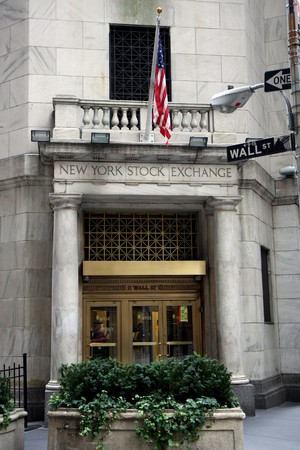 New york stock exchange building at Wall street Redactioneel