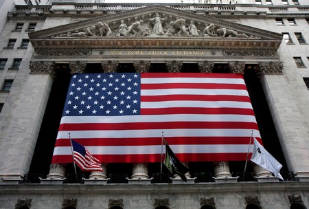 New york stock exchange building at Wall street Editorial