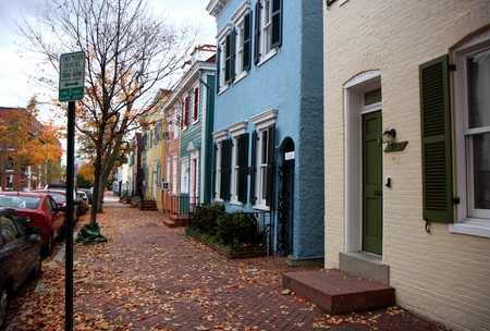 georgetown: Street at fall time in Georgetown neighborhood Washington DC Stock Photo