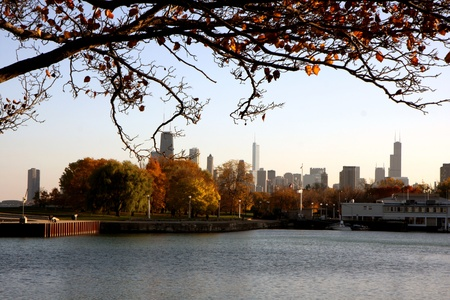 Landscape of the city of Chicago at autumn photo
