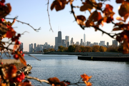 Landschap van de stad Chicago in de herfst Stockfoto