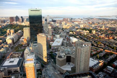 prudential: Bostons panoramic view as it is seen from Prudential tower in winter Stock Photo