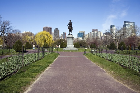Standbeeld van George Washington in de Boston Common openbare tuin