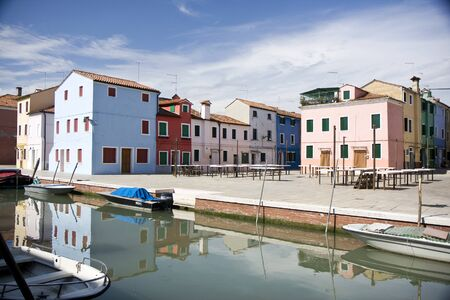 Typical Italian houses at Burano Island next to Venice photo