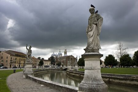 Statues in a park in center of Padua, Italy