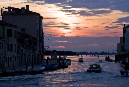 Buildings on a canal of Venice at sunset, Italy Stock Photo - 12236319