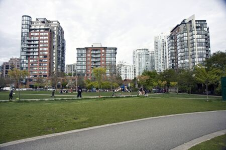 View of a park in downtown of Vancouver city, Canada