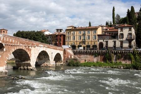 View to Saint Peter bridge and Adige river in Verona, Italy Stock Photo - 16233304