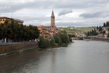 View to Saint Peter bridge and Adige river in Verona, Italy Stock Photo - 16432241