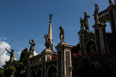 isola: Isola Bella in Lake Maggiore and the Garden sculptures Stock Photo