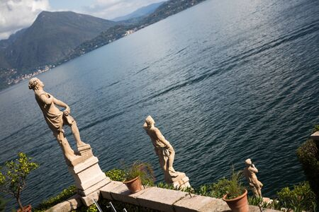 bella: Isola Bella in Lake Maggiore and the Garden sculptures Stock Photo