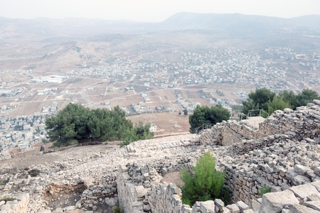 Shechem (Nablus). View overlooking from mount Gerezim. Stock Photo