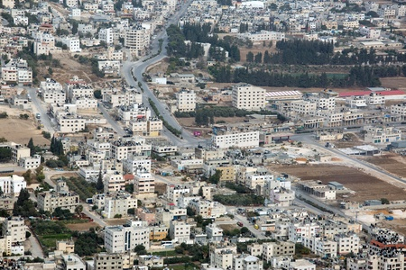 Shechem (Nablus). View overlooking from mount Gerezim. Editorial