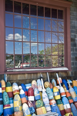 floats: Fishing net and floats in a village of Rockport, Massachusetts