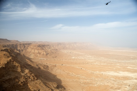 View to the Jdean desert from Masada fortress, Israel photo