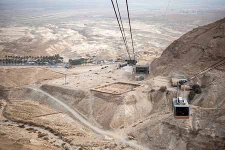 View of the Dead Sea and the cable car to the  Masada fortress, Israel
