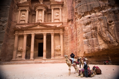 of petra: The Treasury monument in the old Nabataean city Petra, Jordan Editorial