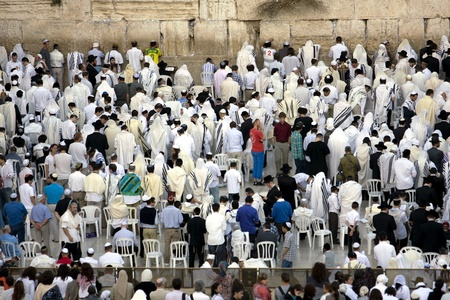 The Wailing Wall in Jerusalem at Yom Kippur
