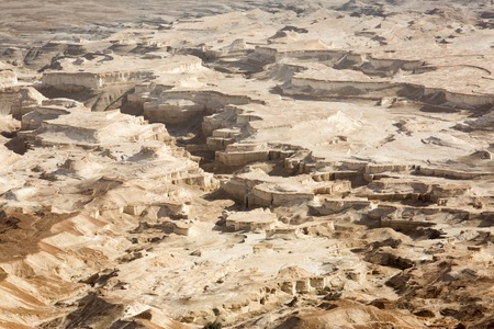 View to the Judean desert from Masada fortress, Israel