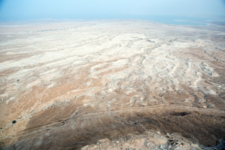 View to the water of the Dead Sea from Masada fortress, Israel photo