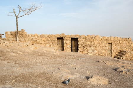 View of archeological details at the Masada fortress, Israel photo