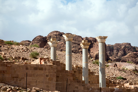 nabataean: Marble columns in the Blue Chapelv of the Nabataean city Petra, Jordan