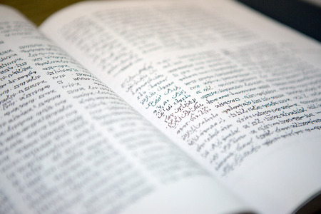 samaritans: Samaritans Pentateuch book in the Arabic and ancient Hebrew languages