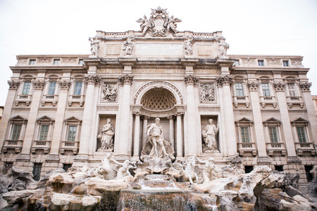 The famous Trevi Fountain facade in Rome, Italy photo