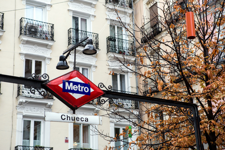 Metro Chueca street sign in Madrid city
