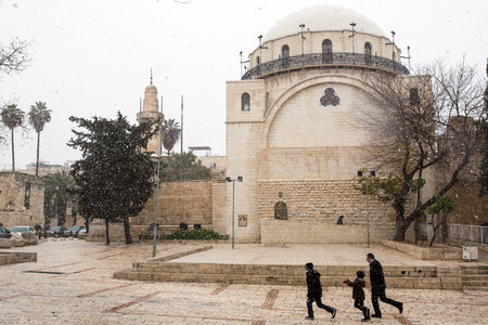 synagogue: Jerusalem old city synagogue during a snow storm