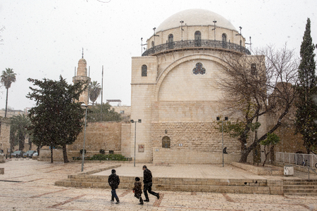 snows: Jerusalem old city synagogue during a snow storm