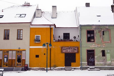 budejovice: Small houses under snow in old city of Ceske Budejovice Editorial