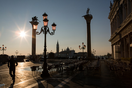 saint mark's square: View in Venice on sunrise , Italy
