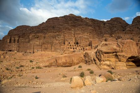 nabataean: View of the Nabataean city Petra, Jordan at sunset