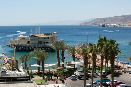 eilat: View to the city Eilat and the red mountains, Israel
