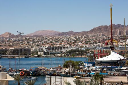 View to the city Eilat and the red mountains, Israel