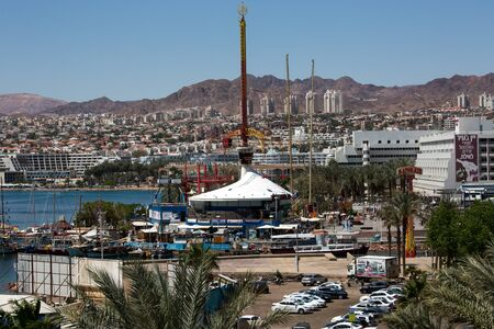city park boat house: View to the city Eilat and the red mountains, Israel