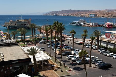 eilat: View to the city Eilat bay and the red mountains, Israel