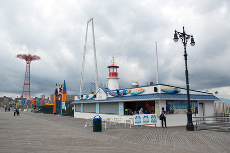 coney: Boardwalk view to the amusement park in the Coney Island, New York Stock Photo