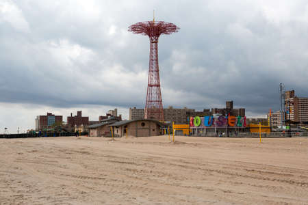coney: Boardwalk view to the amusement park in the Coney Island, New York Editorial