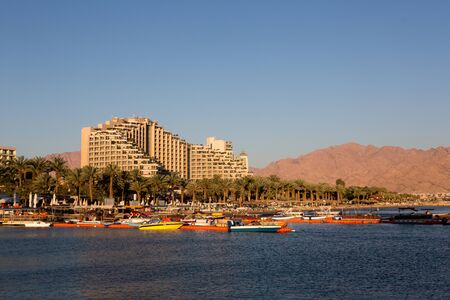 View to the city Eilat bay and the red mountains, Israel