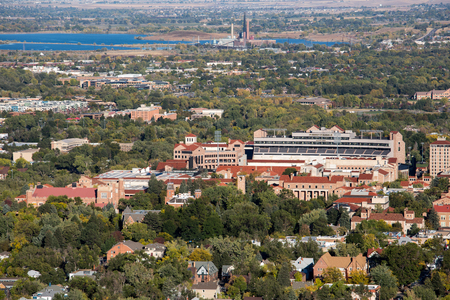 Boulder city University  view from mountains. Colorado Stock Photo
