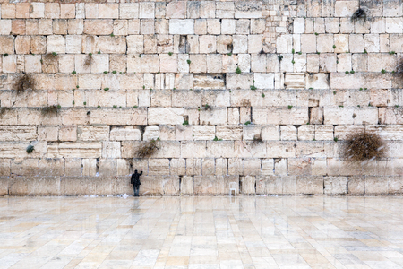 The Western Wall in Jerusalem, empty of people during snow