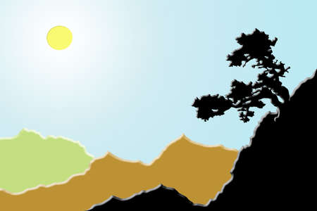 chamfer: Tree on the mountain slope in a sunlit valley. Landscape painted with embossed edges.