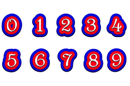 background graphic: Tricolor volume numbers 123456789 isolated on a white background illustration Stock Photo